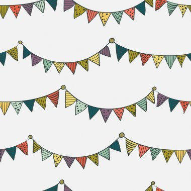 Pattern with childish bunting flags