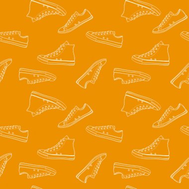 Sneakers seamless orange pattern