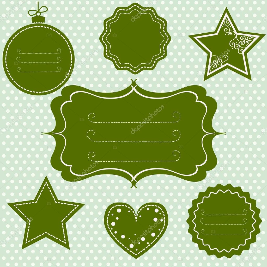 Grüne Markierungen und Frames für Weihnachten — Stockvektor ...