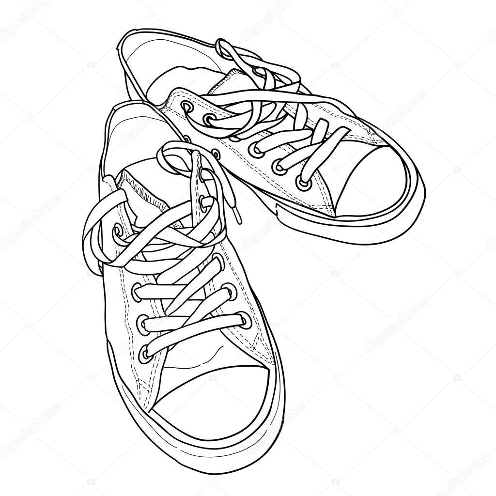 tênis no estilo de desenho vetor de stock tashanatasha 59287729