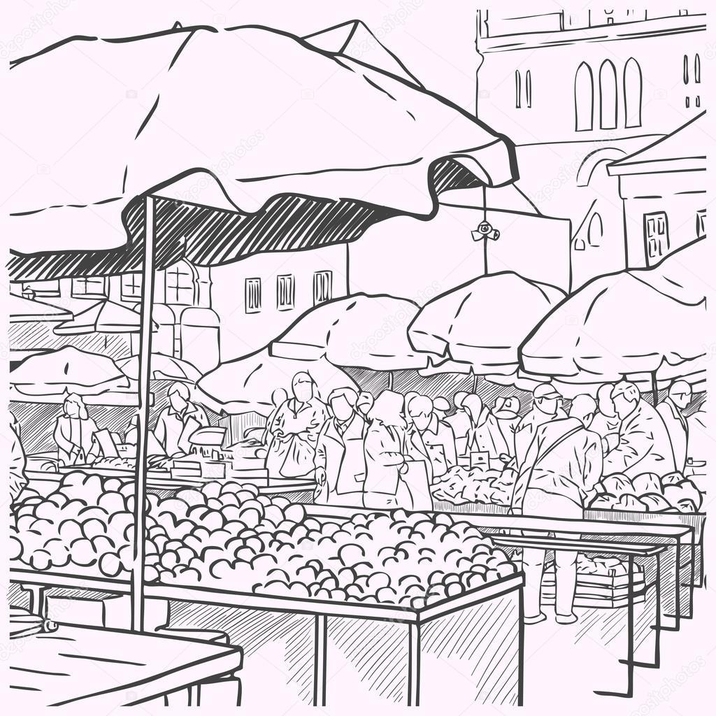 Vintage Farmers Market Sign Vegetables at farmers ...