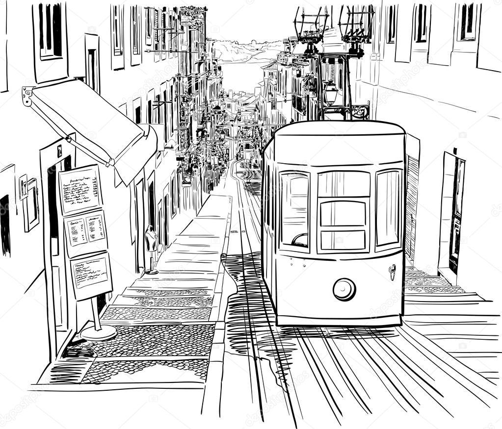Rua tranquila de lisboa com um el ctrico vetor de stock tashanatasha 59288193 - Dessin tramway ...