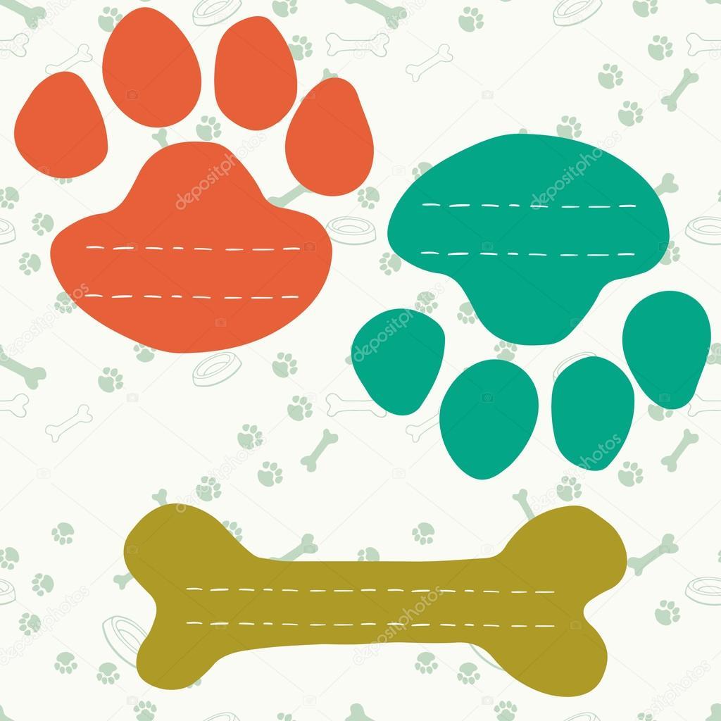 Marcos en forma de impresión de la pata del perro y hueso — Vector ...