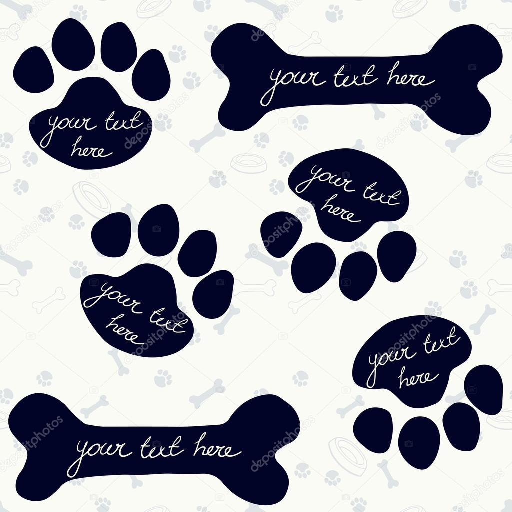 Frames in shape of dog\'s paw prints and bones — Stock Vector ...