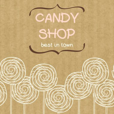 seamless pattern with doodle caramel candies