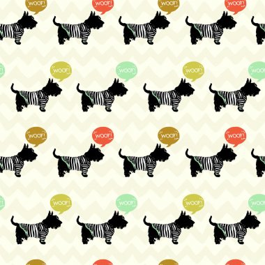 Seamless pattern with sketchy dogs