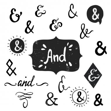 Set of hand drawn 'And' words and ampersands, isolated on  background. clip art vector