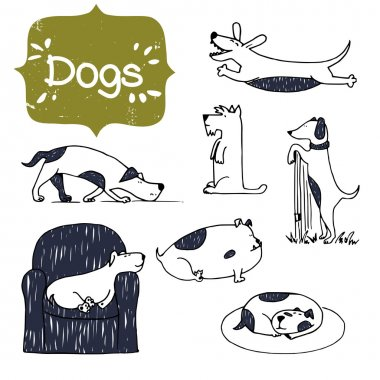 cartoon hand drawn dogs