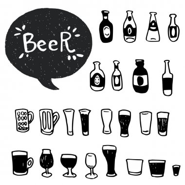 doodle beer bottles and glasses.