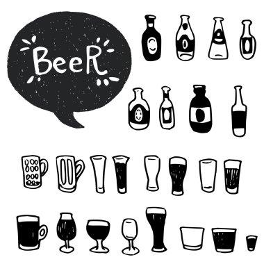 doodle beer bottles and glasses.
