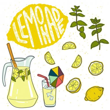 Summer set with lemonade and ingredients.