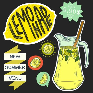jug of lemonade, slices of lemon