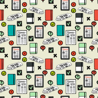 Seamless pattern with press and media symbols