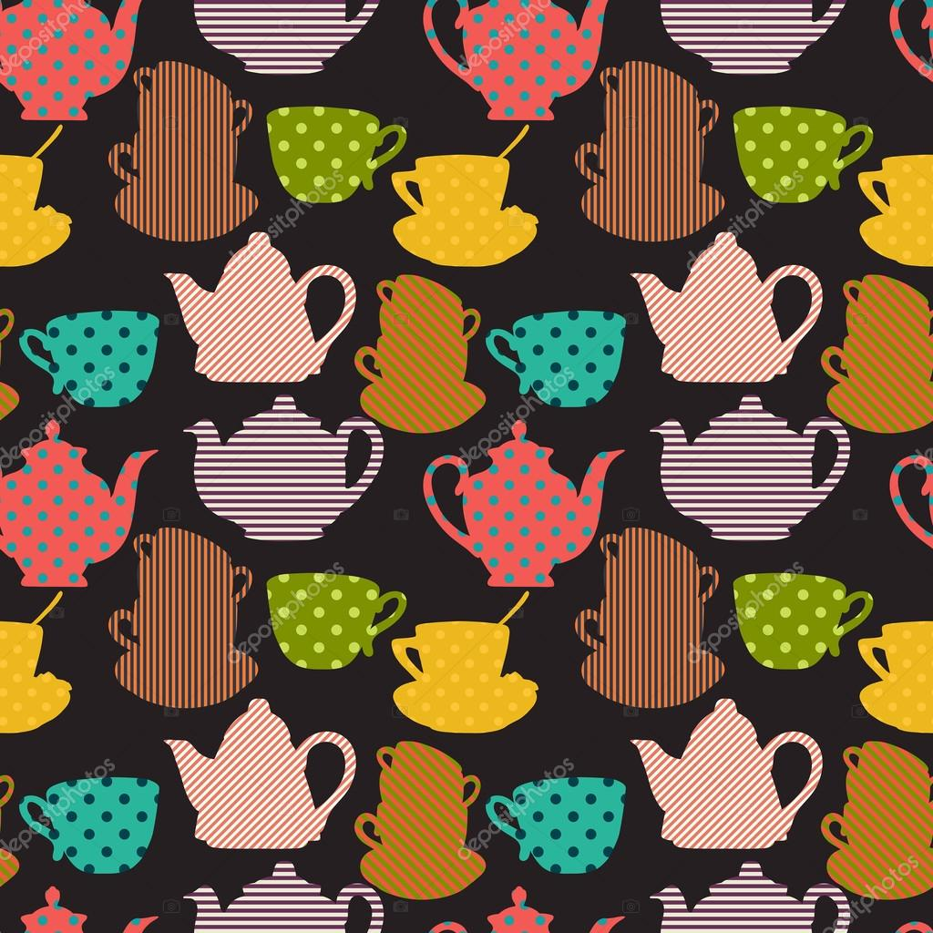 Seamless Pattern With Cups And Teapot Stock Vector