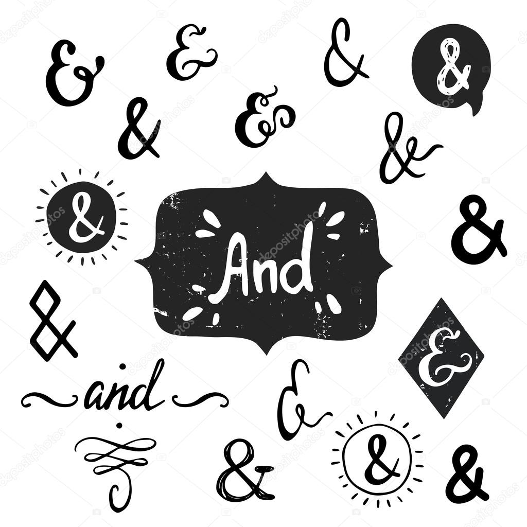 Set of hand drawn 'And' words