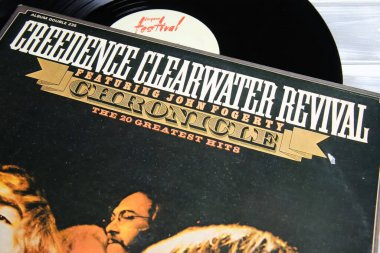 Viersen, Germany - May 9. 2021: Closeup of creedence clearwater revival band vinyl record cover