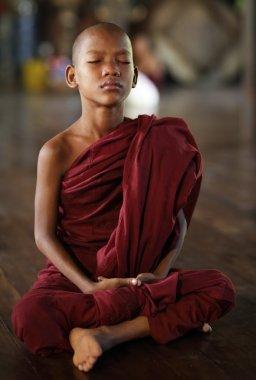 An unidentified Burmese Buddhist novice on December 6, 2012 in Yangon