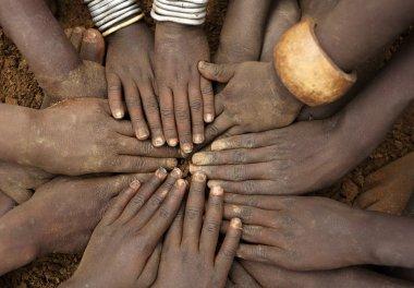 Close up of children's hands, Ethiopia