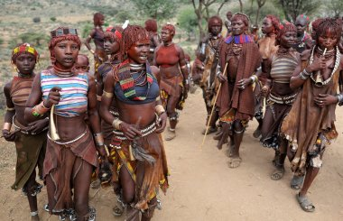A group of Hamer woman in Lower Omo Valley, Ethiopia