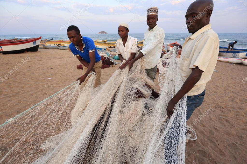 Fishermen pulling a fishing net