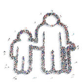 Fotografie Menschen-Großvater-Enkel-Symbol