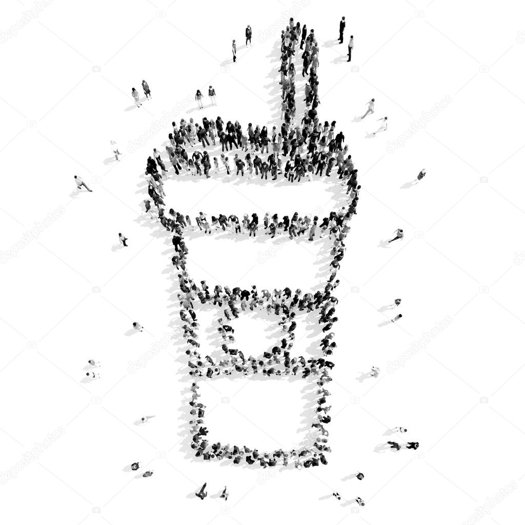 group  people shape  cup coffee cartoon