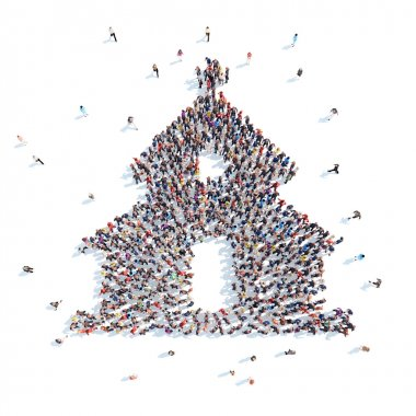 Large group of people in the form of the church. Flashmob, isolated, white background. stock vector