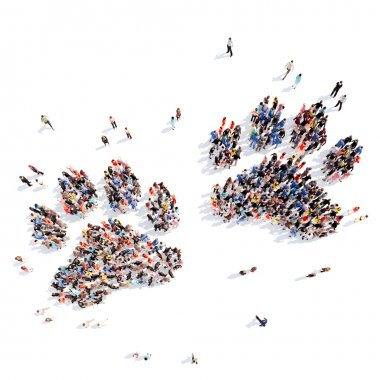 people in the form of animal tracks.