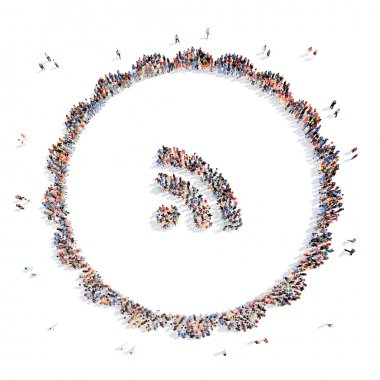 people in the form of an icon Wi-Fi.