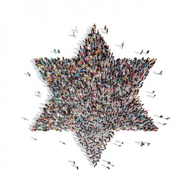 A large group of people in the form of a Jewish star. Isolated, white background stock vector
