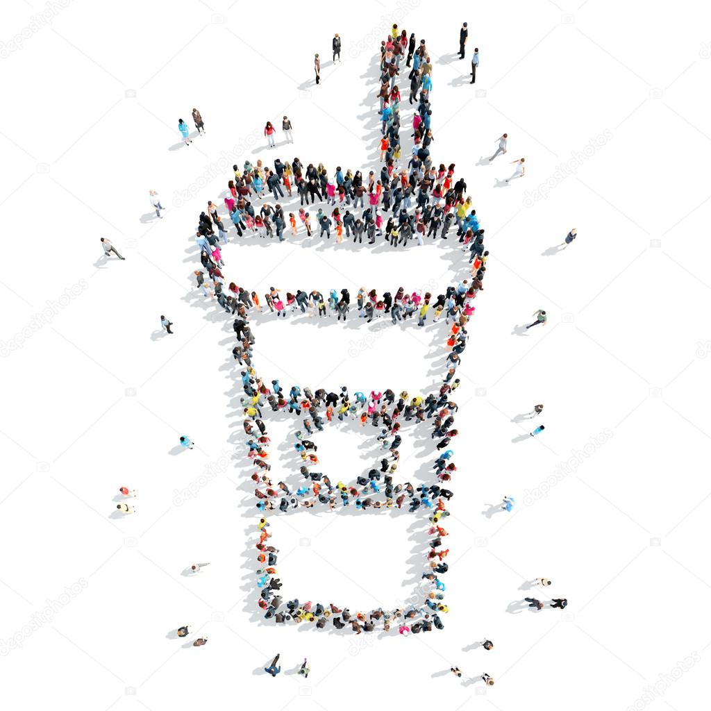 group  people shape  cup coffee cartoon