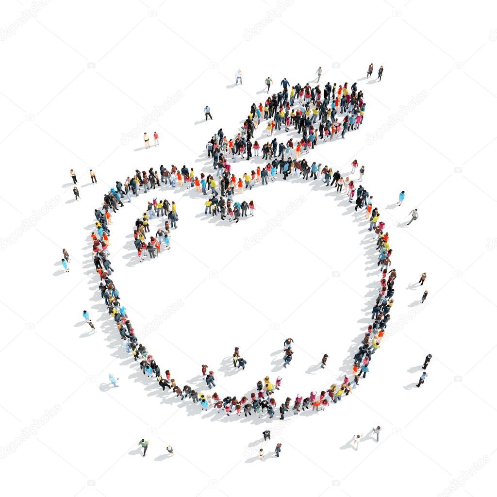 dibujos animados de manzana de forma personas — Foto de stock ...