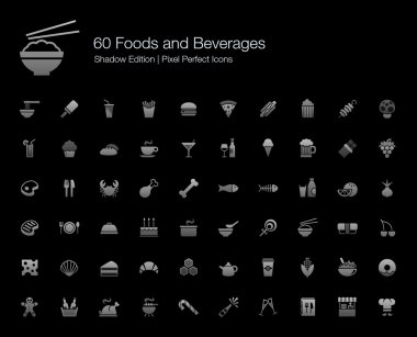 Foods and Beverages Pixel Perfect Icons Shadow Edition