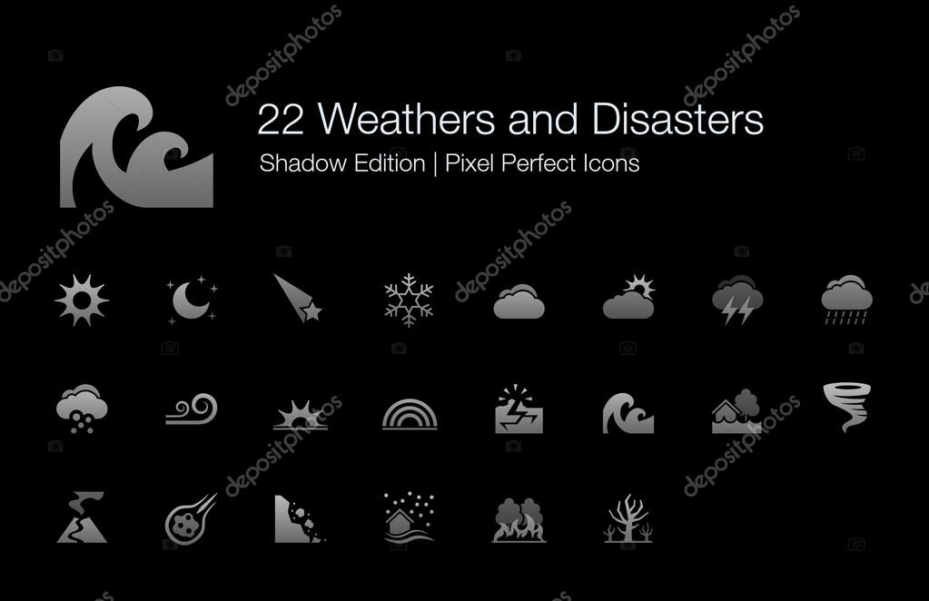 Weathers and Disasters Pixel Perfect Icons Shadow Edition
