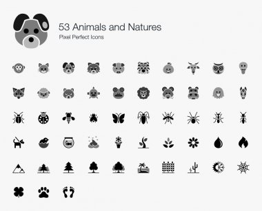 53 Animals and Natures Pixel Perfect Icons