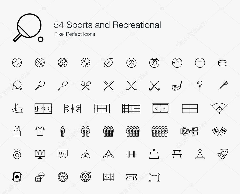 54 Sports and Recreational Pixel Perfect Icons (line style)