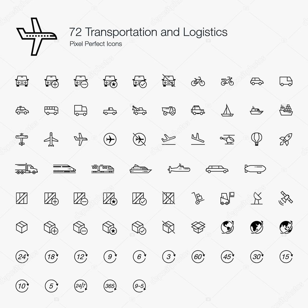 72 Transportations and Logistics Pixel Perfect Icons (line style)