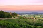 Fotografia Dopo il tramonto, Castello di Montmelas, Beaujolais, Francia