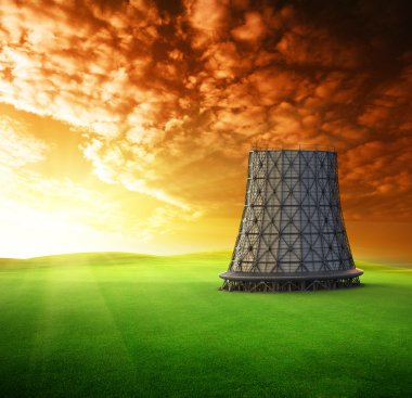 cooling tower at sunset