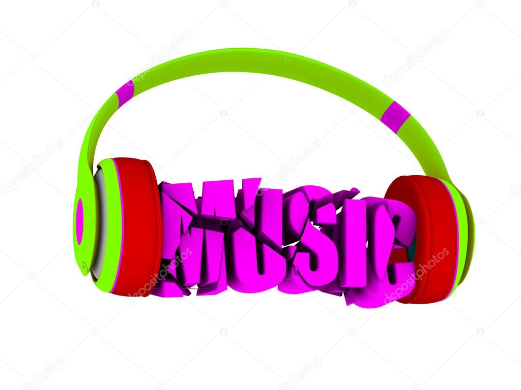 Stylish Headphones In Bright Colors And The Word Music For Each