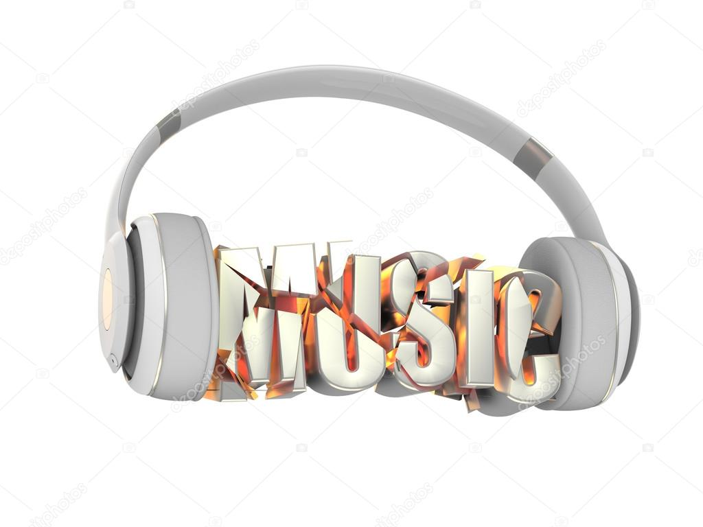 Stylish White With Gold Headphones And The Word Music For