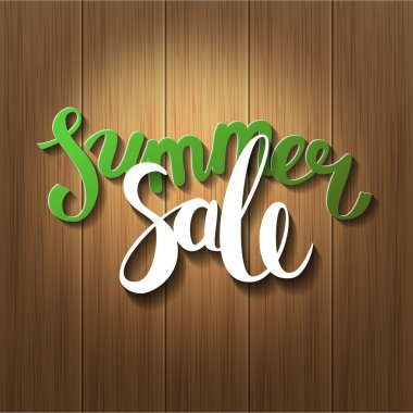 Hello summer, summer sale. Poster wood background. Handdrawn, le