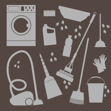 Vector set of icons . Household cleaning and laundry