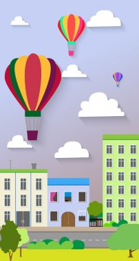 Flat design of the city street and air balloons. Vector