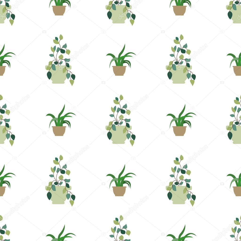 Vector seamless pattern of internal plants in pots. Vector