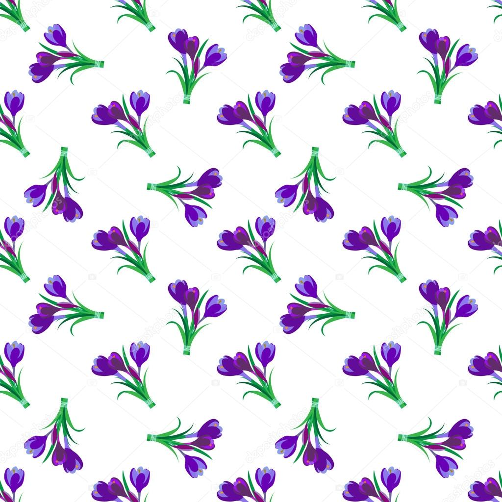 Seamless spring pattern. Crocus, saffron, lily of the valley, sn