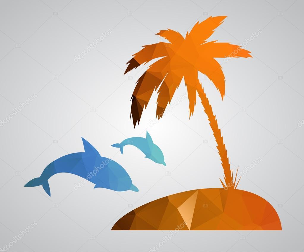 Card in polygonal style. Beach, palm tree, island, dolphins, sea. Vector