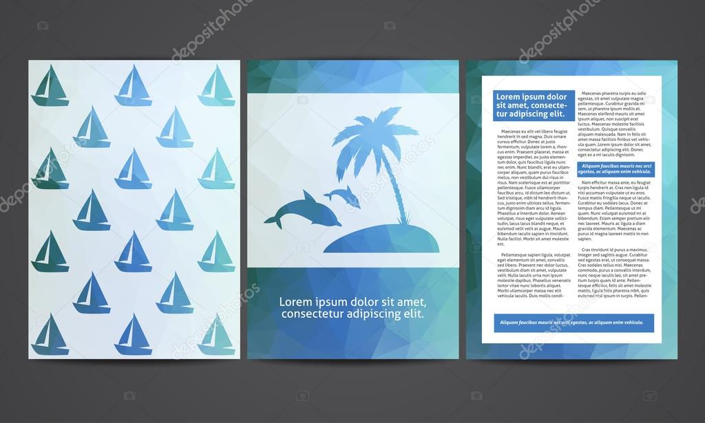 Die Broschüre im polygonalen Stil. Reisen, Strand, Erholung ...