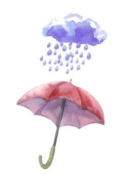 Watercolor set of umbrellas,  cloud, heavy rain. Umbrellas from
