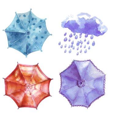 Watercolor set of umbrellas, cloud, heavy rain. Umbrellas from a
